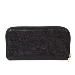 Auth Chanel Zippy Wallet Black Caviar #7074C18